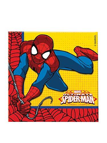 Ciao Procos - 86671 – Lot de 20 Serviettes en Papier, Motif Ultimate Spider Man Power, 33 x 33 cm, 2 Plis - Rouge, Bleu et Jaune
