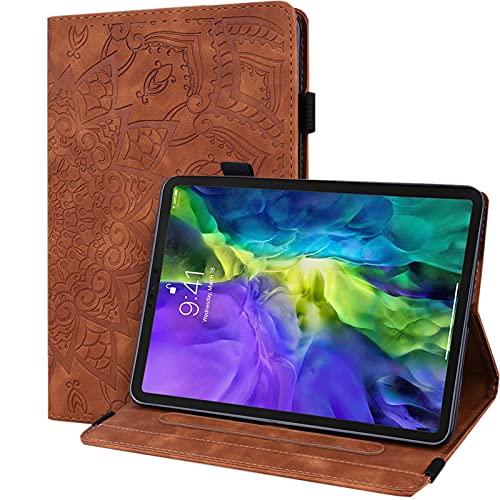 Tedtik Schutzhülle für Samsung Galaxy Tab A6 10.1 Zoll 2016 PU Leder Gummiband Tablet Hülle mit Standfunktion & Kartenfach für Galaxy Tab A6 2016 10.1 Zoll SM-T580/SM-T585- Braun