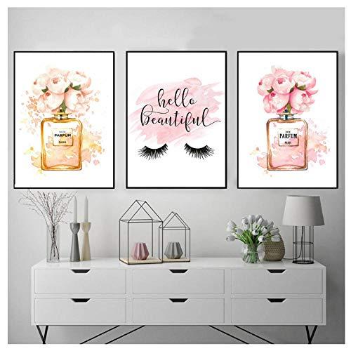 ONEAM Modern Wall Art Home Decor Parfum Fles Canvas Schilderen Coco Muurfoto's Voor Woonkamer Mode Posters En Afdrukken-42X60Cmx3 Stks Frameless