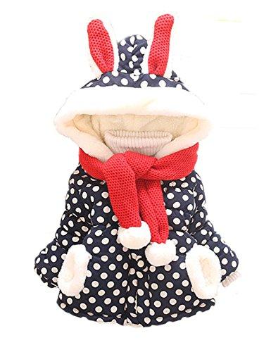 Sevenelks Baby Mädchen Winter Jacke Kinderjacken mit Ohren 0-3 Jahre (80/86, Blau)