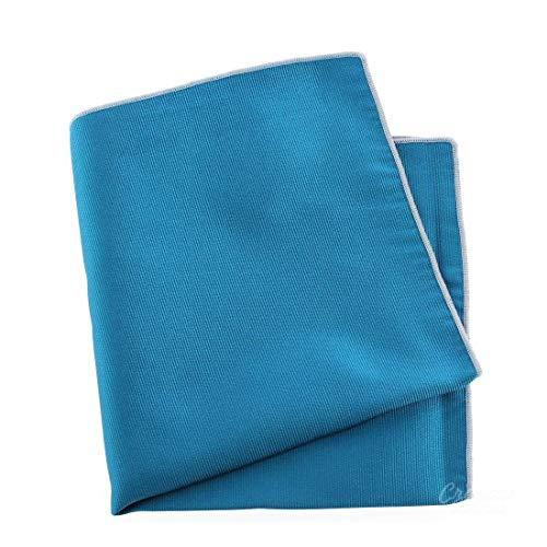 Tony & Paul. Pochette. Cousue main, Soie. Bleu, Uni. Fabriqué en Italie.