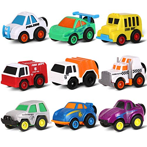 Pull Back Vehicles, Toymus Mini Traffic Vehicles & Race Car Toys, Toys Cars for 3-14 Year Old Boys, Friction Car Toy Play Set, Die-cast Cars, Push and Go, Toy Car Gift for Toddlers & Kids, 9 PCS