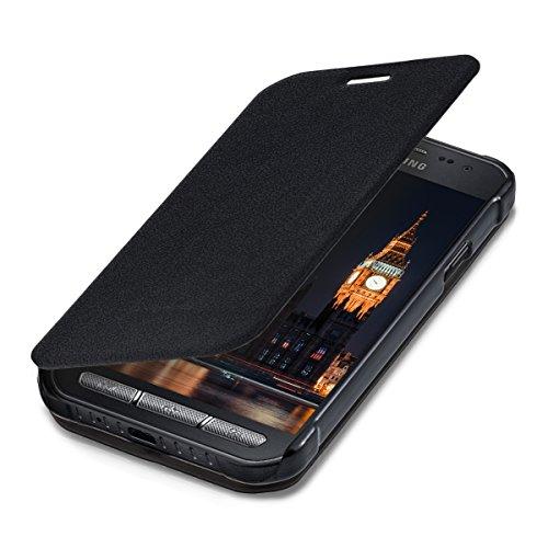 kwmobile Hülle kompatibel mit Samsung Galaxy Xcover 3 - Kunstleder Handy Schutzhülle - Flip Cover Hülle Schwarz