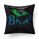 Mocofo Glitter Pillow, Reversible Sequins Pillow Cover DIY Your Holloween Magic Mermaid Fish Pillowcase Parkly Fun Flip Shines Throw Pillow Cover Blue Black Couch Cute Decor Cushion Covers16X16