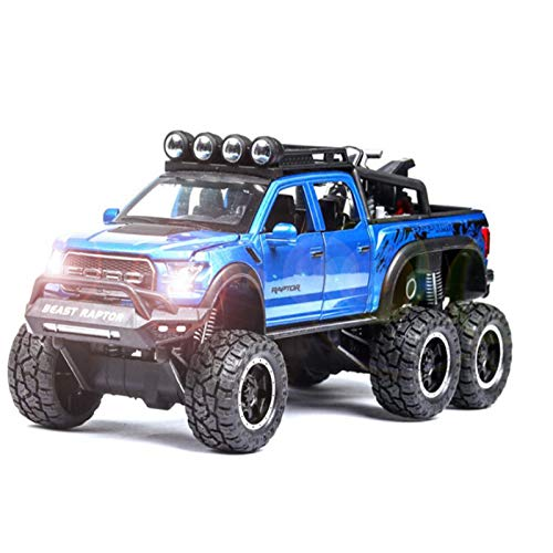 DXZJ Coche De Aleación 1/28 para Camioneta Ford-Raptor F150 con Motocicleta, Modelo De Coche De Metal, Sonido Y Luz para Niños, Regalos De Coche De Juguete (Color : Blue)