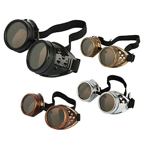 Agile-shop 4pcs Retro Vintage Victorian Steampunk Goggles Glasses Welding Cyber Punk Gothic...