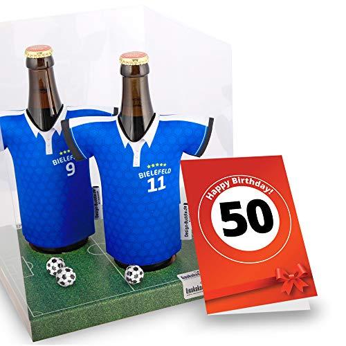 50. Geburtstag | Der Trikotkühler | Das Männergeschenk für Bielefeld-Fans | Langlebige Geschenkidee Ehe-Mann Freund Vater Geburtstag | Bier-Flaschenkühler by Ligakakao
