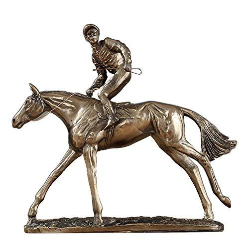 IUYJVR Jockey y Caballo, Estatua de Carreras de Caballos Saltando Escultura de Bronce Jockey Steeplechaser Adorno Accesorios de Escritorio para el hogar, B