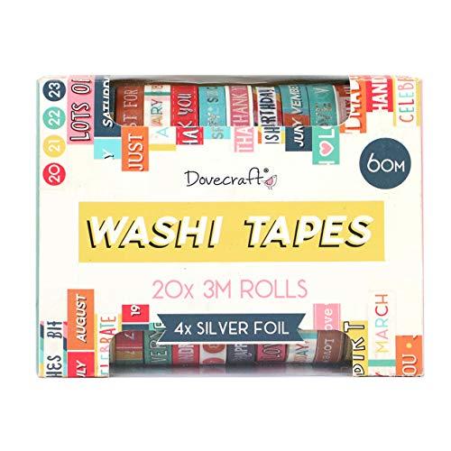 Dovecraft DCWTB050 Washi-Tape-Box, 20 Designs, 10 mm breit, 3 m Rollen, inklusive Aufbewahrungsbox, für Bastelarbeiten, Schreibwaren, Journaling, Heimdekoration, Papier, Mehrfarbig, Einheitsgröße