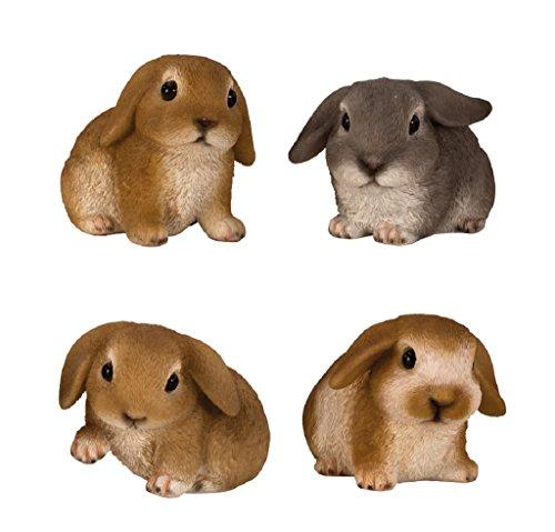 4 er Set Hasen Figuren für Haus und Garten Kleintiere Häschen Hase Schlappohr