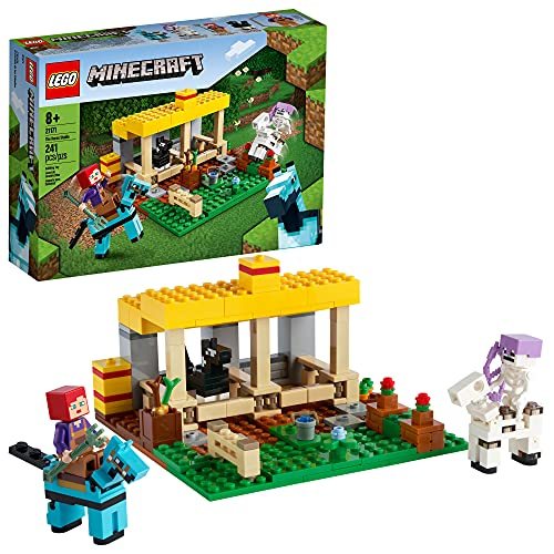 LEGO Minecraft The Horse Stable 21171 Building Kit  Fun Minecraft Farm Toy for Kids  Featuring a Skeleton Horseman  New 2021 (241 Pieces)