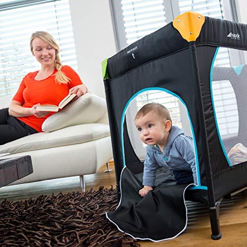 Hauck Sleep N Play Go Plus Kombi-Reisebett, 4-teilig, ab Geburt bis 15 kg, inkl. Gesetzl. Schlupf, Rollen, Matratze, Tragetasche, mehrfarbig schwarz - 5