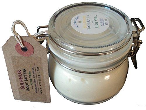 Attis azufre cuerpo mantequilla con Aloe Vera | Vegan | con lavanda y té de árbol aceites esenciales | Hidratante | rehidratar | crema facial | crema de manos | Natural | hecho a mano