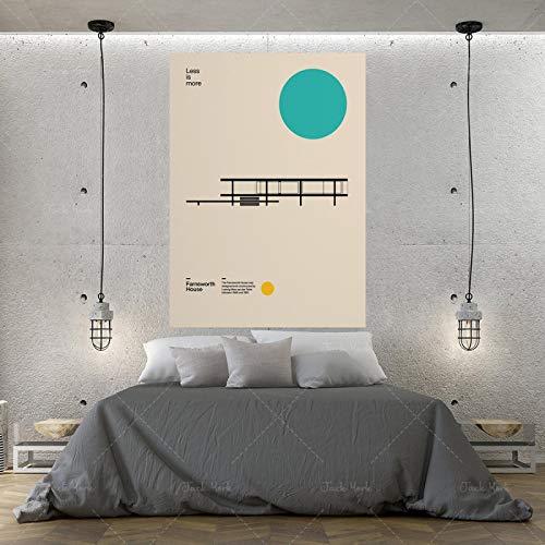 Póster de lienzo e impresiones Casa Ludwig Mies van der Rohe Arquitectura minimalista Diseño Bauhaus Arte de pared para decoración del hogar-60x90cmx1 Sin marco
