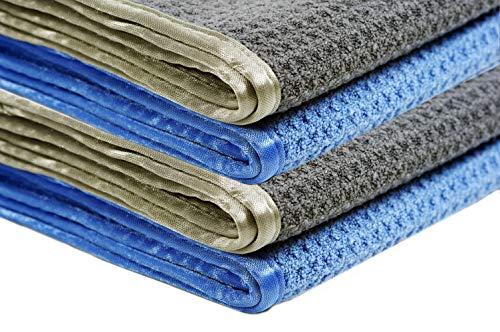 Glart - Pack de 4 paños de cocina de microfibra absorbentes para secar cristal, menaje de cocina, vajilla y para el baño, 70 x 50 cm, Azul/Gris