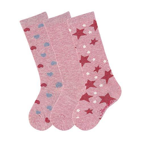 Sterntaler Mädchen Socken Kniestrümpfe 3er-pack Herzen, Rosa (Rosa Mel. 703), 23-26