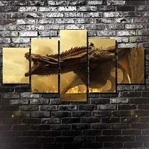 LVLJ 5 Piezas Cuadros En Lienzos Dragón De Juego De Tronos Cuadros Modernos Impresión De Imagen Artística Decorativo para Salón O Dormitorio