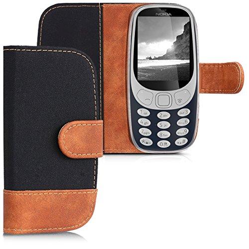 kwmobile Wallet Hülle kompatibel mit Nokia 3310 3G 2017 / 4G 2018 - Hülle Kunstleder mit Kartenfächern Stand in Schwarz Braun