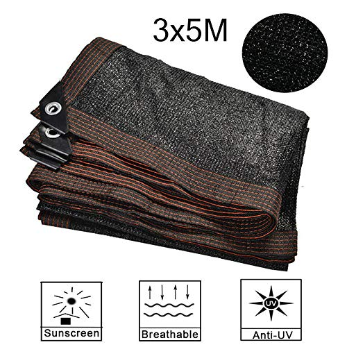 BCLGCF Shade Cloth Sun Black Mesh, Edge with Buttonhole, Easier To Hang, UV Resistant Shade Sunblock Net for Greenhouse Flowers Plants Patio Lawn Mesh,3x5M