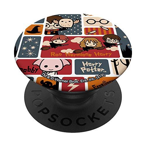 Harry Potter Cute Chibi Pattern PopSockets PopGrip: Ausziehbarer Sockel und Griff für Handys/Tablets mit Tauschbarem Top