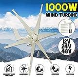 YUYUKUAILAI 1000W 12V 24 V 48 voltios 6 Generador de Fibra de Nylon Hoja Horizontal...