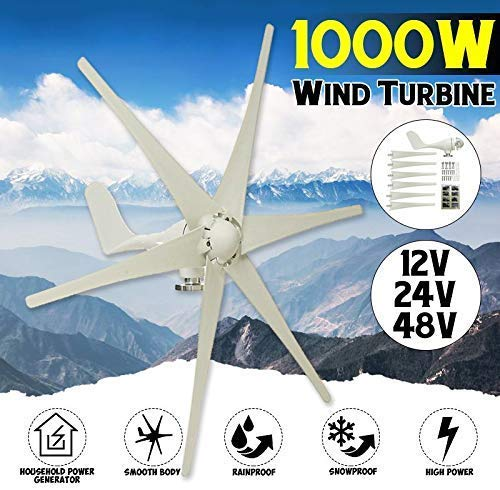 YUYUKUAILAI 1000W 12V 24 V 48 voltios 6 Generador de Fibra de Nylon Hoja Horizontal Inicio turbinas de Viento Molino de Viento Energía Eólica Energía Turbinas de Carga, 24v,24V