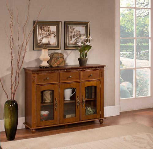 Kings Brand Furniture - Penrose Wood/Glass Sideboard Buffet Cabinet, Walnut