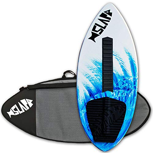 Slapfish Skimboards USA Made Fiberglass & Carbon - Riders up to 200 lbs - 48' with Traction Deck Grip - Kids & Adults - 4 Colors