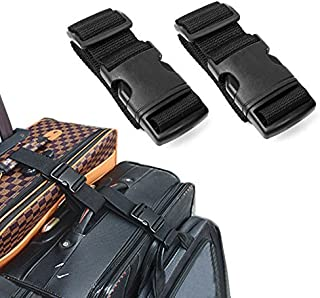 Pack of 2 Add-A-Bag Luggage Strap, Baggage Suitcase Adjustable Belt Straps Travel Accessories Attachment - Connect Your Three Luggages Together, Black