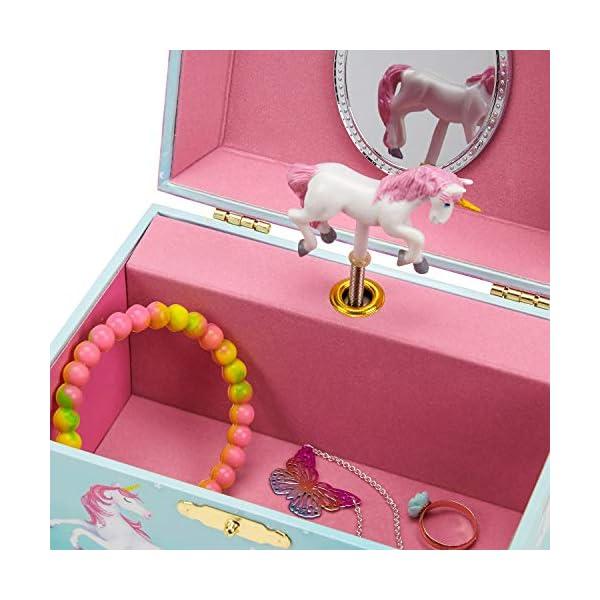 Jewelkeeper Girl's Musical Jewelry Storage Box with Spinning Unicorn, Rainbow Design, The Unicorn Tune 4