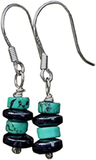29f4ed2ae Handmade 925 Sterling Silver Drop Turquoise Haematite Gem Earrings Gift  Wrapped Free, UK Delivery