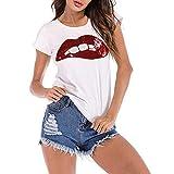 VJGOAL Moda para Mujer Lentejuelas Impresión de Labios Manga Corta Top Blanco Camisetas Casuales básicas(Medium,Rojo)