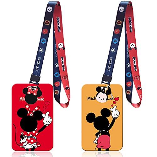Minnie Cuello Cordón Cuerda,BESTZY 2Piezas Cordón de Mickey Minnie, Lanyard con Soporte para Tarjetas,llavero con Portatarjetas para Tarjetas de Identificación(Color: 02)