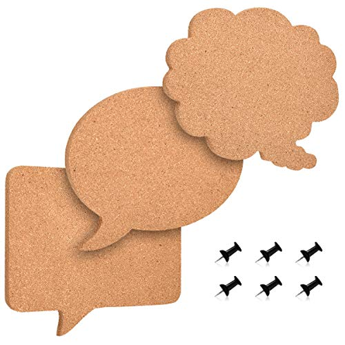 Navaris Cork Memo Board Set - 3X Pieces Decorative Cork Boards in Different Speech and Thought Bubble Shapes with Push Pins for Kitchen, Home, Office