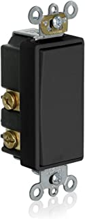 Leviton 56080-2E Momentary Contact SPST Decora Plus Rocker Switch, Black,