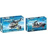 Playmobil- Helicóptero de Las Fuerzas Especiales Juguete, Multicolor (geobra Brandstätter 9363) + City Action Lancha de Las Fuerzas Especiales, Flotante, a Partir de 5 Años (9362)