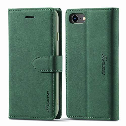 LOLFZ Funda tipo cartera para iPhone 7, funda de piel para iPhone SE 2020, para iPhone 8, funda de cuero vintage, soporte para tarjetas, cierre magnético, tapa con tapa, color verde