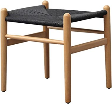Nordic Solid Wood Seatting Stool Hand-Knitted Rope Footstool Fashion Creative Dressing Stool Living Room Bedroom Shoe Bench (Color : Black)