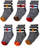 Carhartt Boy's Baby Camp Crew Sock 6 Pair Pack, Natural, tan, Orange, red, Brown, Shoe Size: 4-8.5 (18-36 Months)