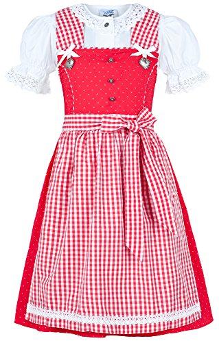 Isar-Trachten Kinder Dirndl Michelle 3-TLG. - Rot Gr. 104 - Marken Kleid mit Bluse und Schürze