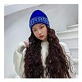Bria Perruque Laine Bonnet Cheveux Ondulés Longue Synthétique Slouchy Chapeau Noir De Cheveux for Girl Party Usage Quotidien 7 Couleurs f1113 (Color : Blue)