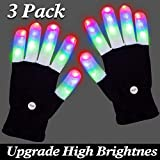 3 Pack LED Gloves, Light up Gloves Glow in The Dark Finger Lights 3 Colors 6 Modes Flashing Rave Gloves...
