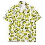 Camisa Hawaiana para Hombre,Camisa Hawaiana con Botones Hawaianos De Manga Corta para Hombre, Sandía, Limón, Fruta, Estampado 3D, Casual, De Secado Rápido, Manga Corta, Verano, Vacaciones, Fiesta