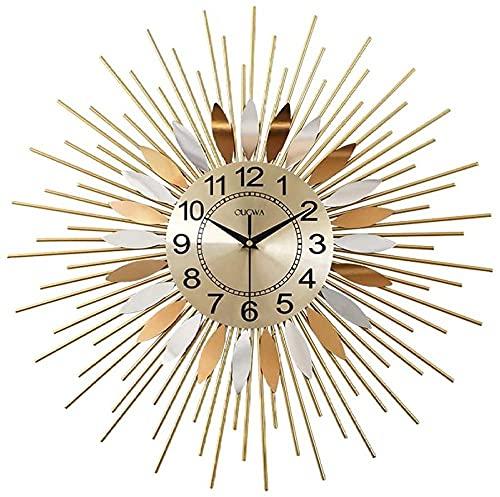 XiangRuiDa Reloj de Pared Grande Diseño Moderno Metal silencioso Creativo Reloj de Pared Grande Dorado Minimalista Decoración de la casa-58cm Beautiful