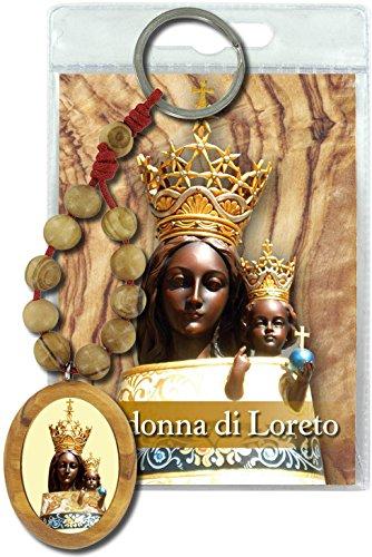 Ferrari & Arrighetti Llavero Virgen de Loreto con decenario en Madera de Olivo y oración en Italiano