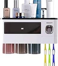 Wekity Toothbrush Holder Wall Mounted, Multifunctional Bathroom Toothbrush Holder Set with Toothpaste Dispenser, 3 Cups an...