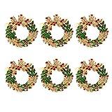 L.J.JZDY Servilleta 6 unids/Set Anillos de la servilleta de Metal Árbol de Navidad Elk Santa Belma Soporte de Guirnalda Abrazando para servilletas Boda Decoración de Navidad