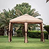 Outdoor Hexagon Canopy Pop up Gazebo Instant Folding Portable Party Tent (12'x 10' Tent, Kanki)