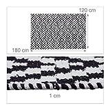Relaxdays Teppich Baumwolle, Läufer rutschfest, Teppichläufer Flur, gewebt, Wohnzimmerteppich 120x180 cm, schwarz weiß - 5