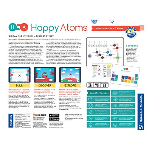 Happy Atoms Magnetic Molecular Modeling Introductory Set | Intro To Atoms, Molecules, Bonding, Chemistry | Create 508 Molecules | 73 Activities | Plus Free Educational App For Ios, Android, Kindle